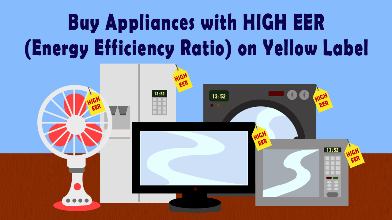 Buy Appliances with High EER on Yellow label