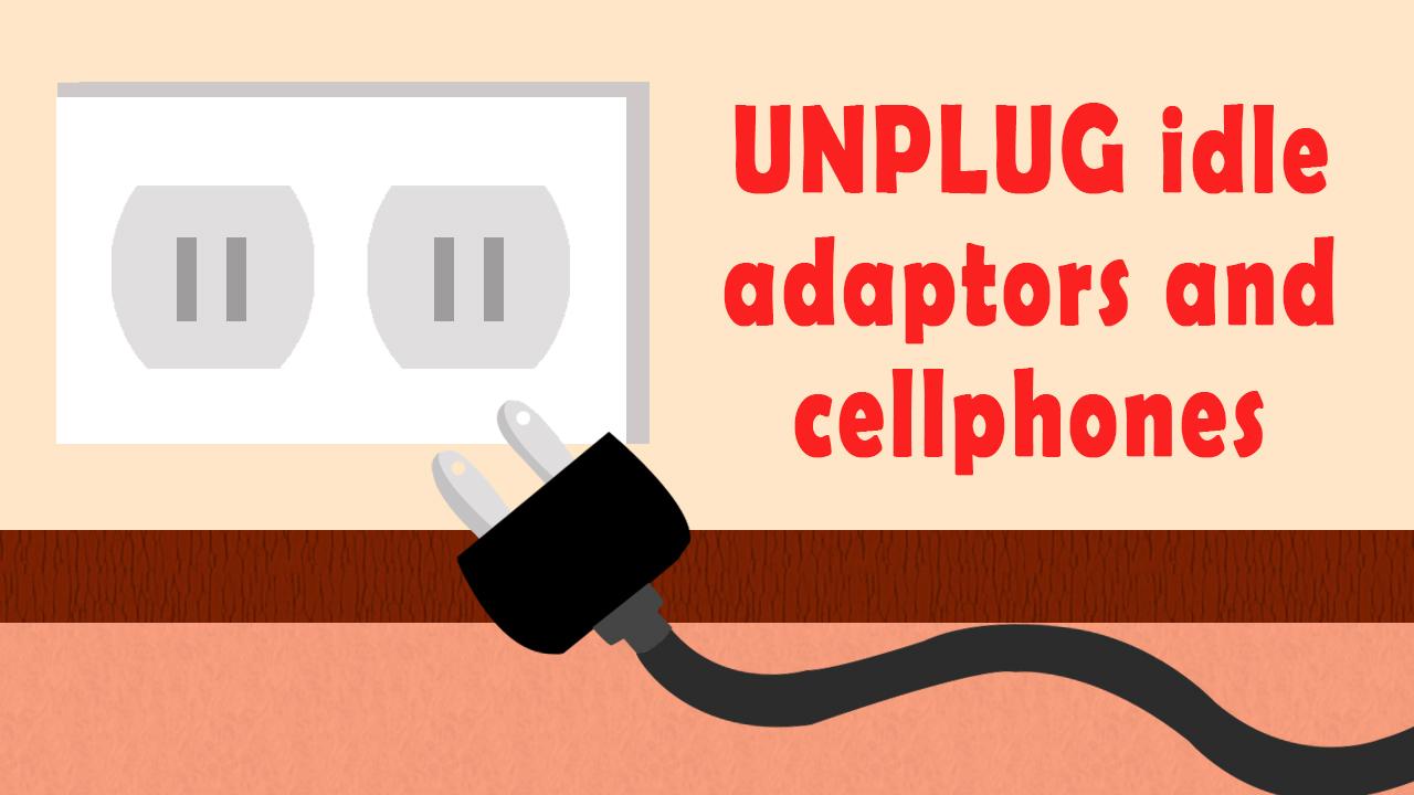 Unplug idle adaptors and cellphones