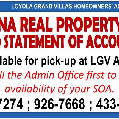 Marikina Real Property Taxes 2019 SOA