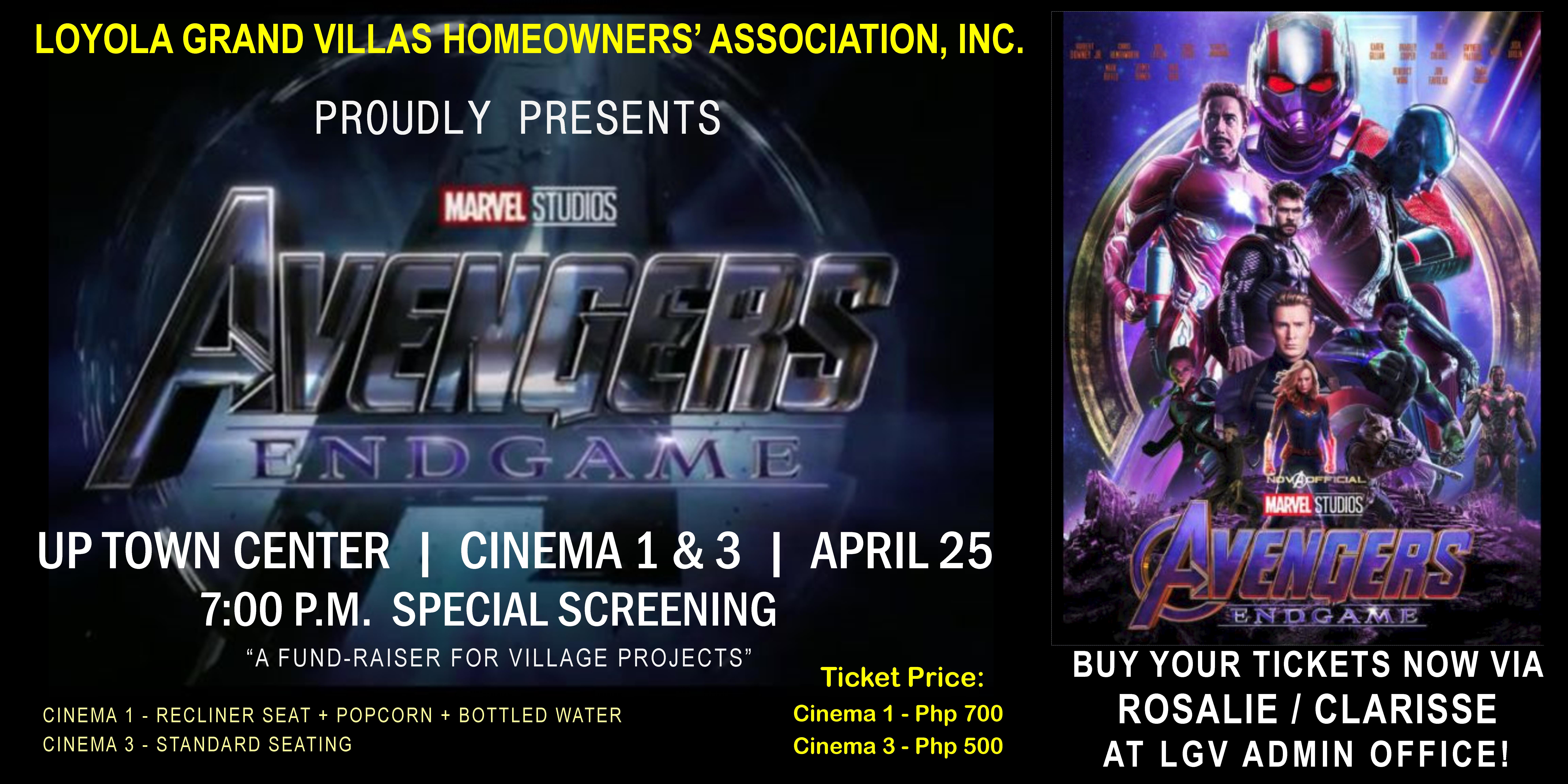 Avengers End Game Block Screening